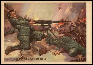 Italy WWII War Hero Brave Youth 3rd Regiment Machinegunner Propaganda Card