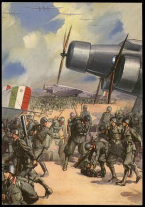 Italy WWII War Heroes Air Force Sardegna and Albania Propaganda Card