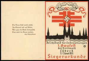 3rd Reich Germany 1935 DRL Gaufest Luebeck Victory Award Card