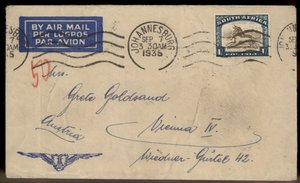 South Africa Greece 1935 Incoming Austria Rohrpost Pneumatic Cover