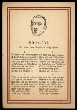 Germany 1931 Hitler Lied Song Dedication Blue Eyes Propaganda Card