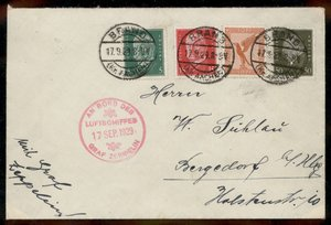 Germany 1929 Graf Zeppelin Deutschlandfahrt Si34d Bordpost Brand Drop Cover