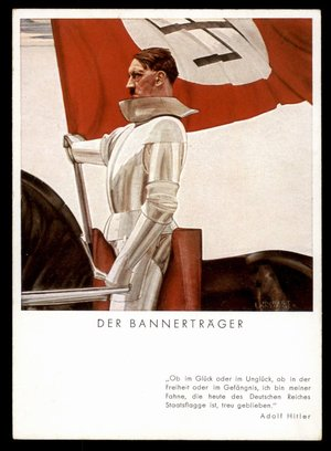 3rd Reich Germany Hitler as Knightly Flagbearer Propaganda Card