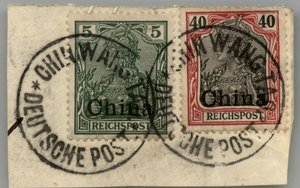Germany 1901 China Mi16 21 CHINWANGTAO on Piece Expertized 2x Bothe BPP