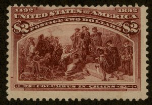 USA 1893 Sc242 $2 Columbian Sound MNG or Lite Used Good Color